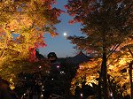 満月とライトアップされた紅葉