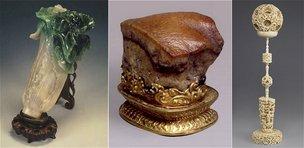 天然の翡翠と玉の混ざり具合を巧みに利用した「翠玉白菜」、豚の角煮にそっくりの赤身と脂身の混じった「肉形石」、1本の象牙から10数層にもなる透かし彫りの球で、それぞれが回転する「雕象牙球帽架」