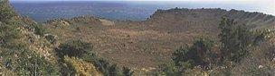 山頂展望台からの噴火口の眺め