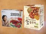 五味子茶(左,15袋入り₩4680)とユルム茶(右,80袋入り₩15200)