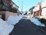 道路にうず高く積まれた雪