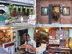 軽便路の店々。可愛いカフェ「八番坑」、レンガ造りの民芸品店、二胡のライブ、履物屋