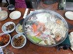 海鮮鍋の夕食