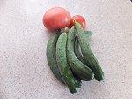 裏庭の収穫野菜